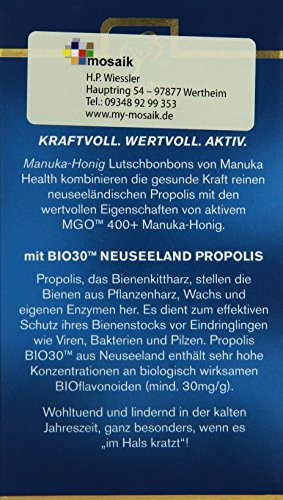 Manuka Health MGO 400 plus Propolis Lutschbonbons, 1er Pack (1 x 100g) - 3